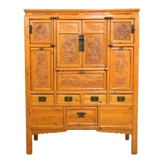 Antique 19th C. Chinese Large Elmwood Cabinet For Sale
