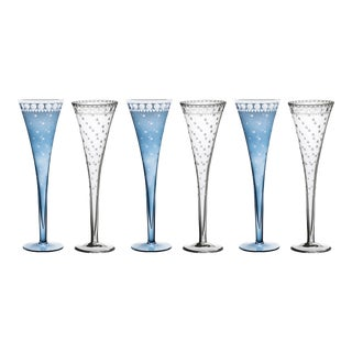 ARTEL Staro Champagne Flute in Slate and Clear, Set of 6 For Sale