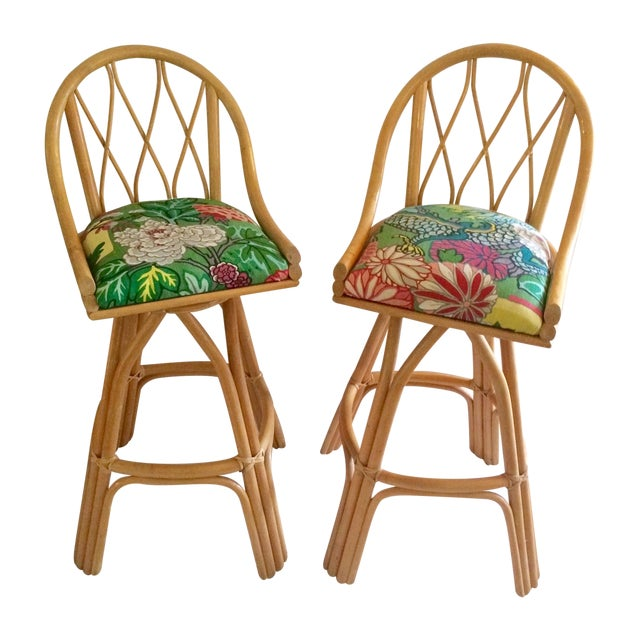Bamboo Swivel Bar Stools - A Pair - Image 1 of 7