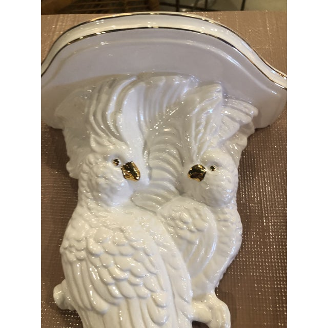 Vintage Palm Beach Tropical White Ceramic Cockatoo Parrots Wall Sconces - a Pair For Sale - Image 11 of 13