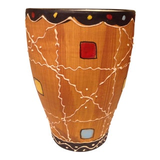 Set of 6 Hand Painted Art Studio Pottery Tumblers. For Sale