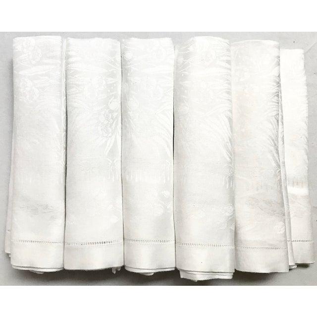Textile Set of 11 White Linen Damask Dinner Napkins For Sale - Image 7 of 7