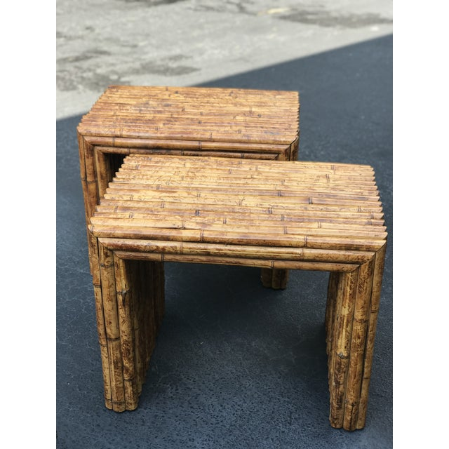 Brown Vintage Bamboo End Tables - A Pair For Sale - Image 8 of 8