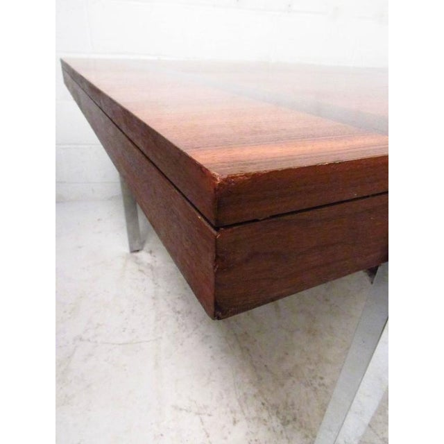 Mid-Century Rosewood Inlay Dining Table For Sale - Image 4 of 8