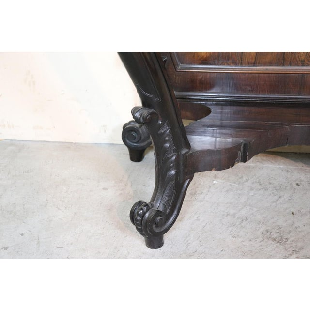Rosewood 19th Century Italian Louis Philippe Rosewood Carved Marble-Top Console Table For Sale - Image 7 of 12