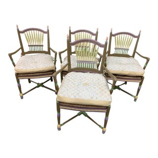 Vintage Mid Century Mackenzie Childs Cushioned Art Country Style Hand Painted Chairs- Set of 4 For Sale
