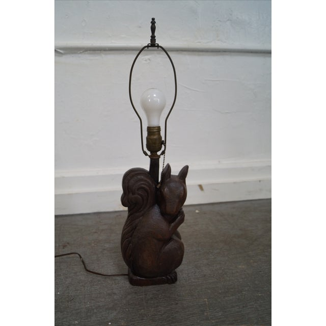 Romweber Rare Oak Carved Squirrel Table Lamp - Image 5 of 10