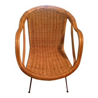 Retro Wicker Metal Leg Chair For Sale