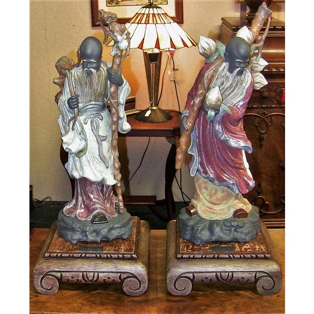 Lladro Retired Chinese Farmer Figurines - Very Rare Pair For Sale - Image 12 of 12