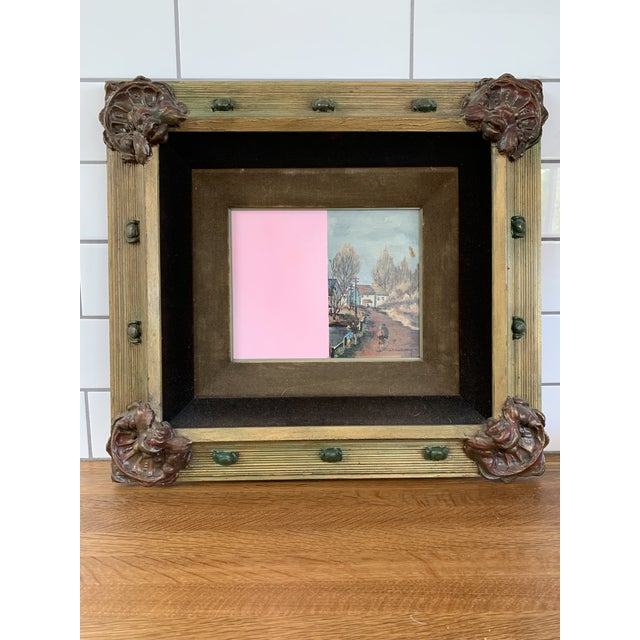 Vintage Mid-Century Original Color Block Oil Painting For Sale In Los Angeles - Image 6 of 7