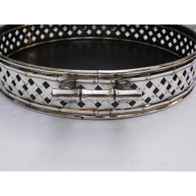 Vintage Faux Bamboo Silver Plated Serving Tray For Sale - Image 5 of 9