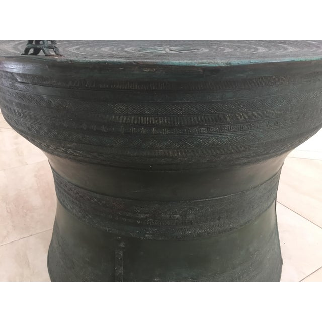 Asian Cast Bronze Rain Drum with Glass Top Coffee Table For Sale - Image 9 of 11
