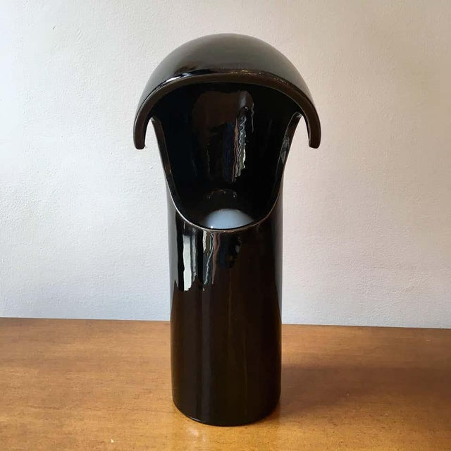 An original 1960s Italian black ceramic Space Age table or desk lamp. Standard socket. Newly Rewired.