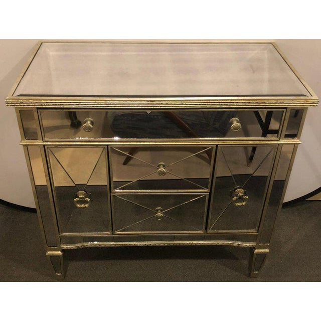 Mirrored Hollywood Regency Style Large Nightstand or Commode For Sale - Image 10 of 11