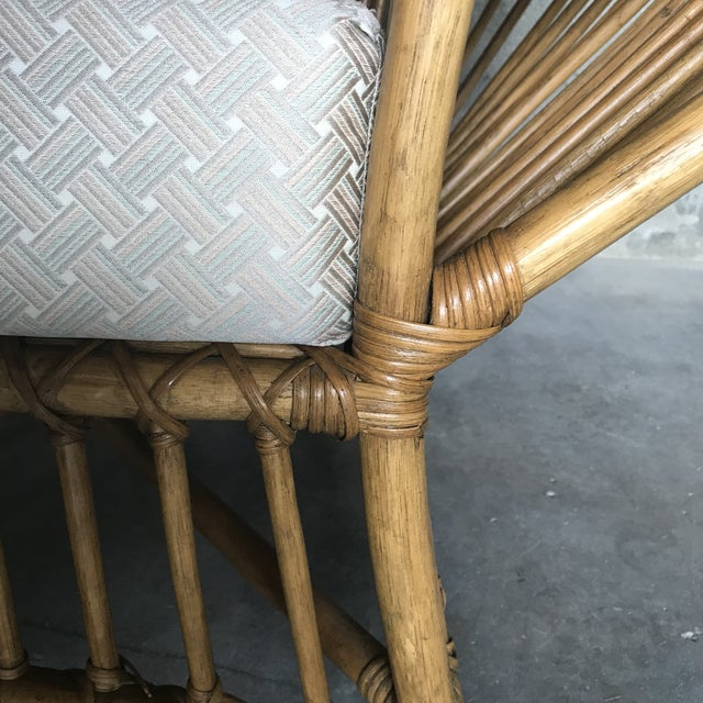 Wood 1980s Vintage Rattan Lounge Chair & Ottoman For Sale - Image 7 of 13