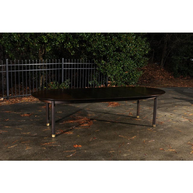 Metal Majestic Restored Elliptical Walnut Extension Dining Table by Baker, circa 1958 For Sale - Image 7 of 11