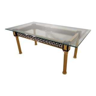 Vintage Italian Versace Deeply Etched Eglomise Medusa Glasstop Greek Key Dining Table For Sale