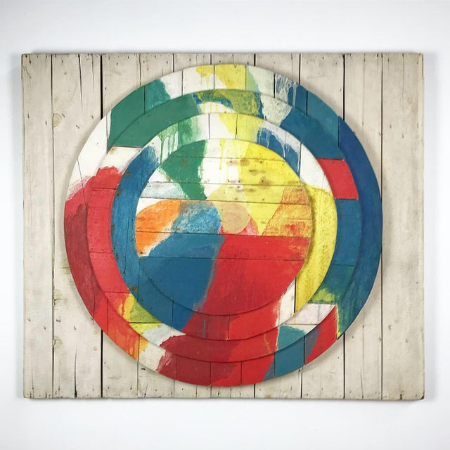 """Large Modernist Abstract Relief """"Sun lI"""" Jef Diederen 1965 Acrylic on Wood For Sale - Image 13 of 13"""