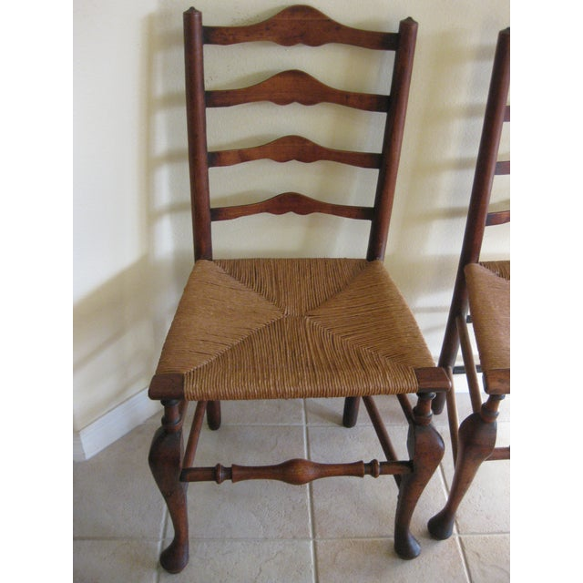 Antique English Ladderback Chairs - Pair For Sale - Image 4 of 7