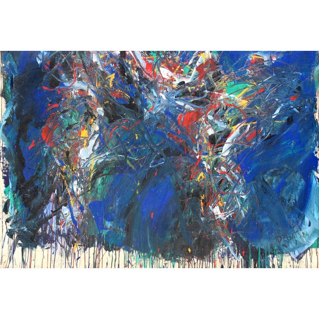 """1980s Monumental Abstract Oil on Canvas Titled """"Figure"""" Signed Dehais, Dated 1984 For Sale - Image 5 of 8"""