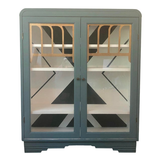 Modern Art Deco Hand Painted China Cabinet