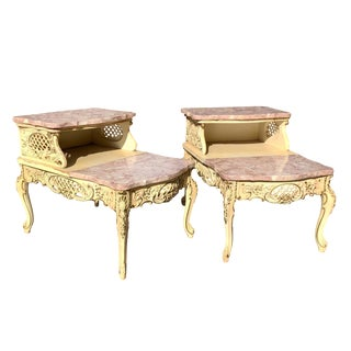 Vintage French Provincial Rococo Louis XVI Pink Marble End Tables - a Pair For Sale