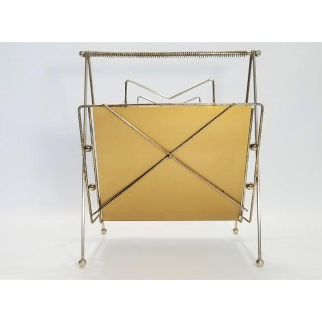 Mid-Century Modern Rare Atomic Mid Century Modern Magazine Holder Rack - Sputnik Era 1950s Abstract Minimalist Art Deco For Sale - Image 3 of 13