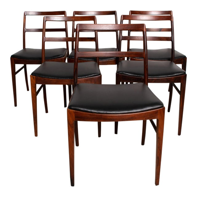 Mid Century Danish Modern Set of 6 Dining Chairs by Arne Vodder for Sibast 430 For Sale
