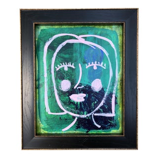 Original Abstract Pink and Green Painting, Framed For Sale