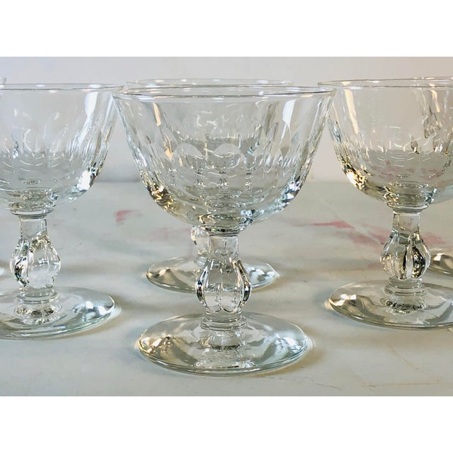 Mid-Century Modern 1950s Mitred Glass Coupe Stems, Set of 6 For Sale - Image 3 of 9