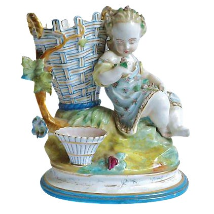 Antique French Majolica Cherub Vase For Sale