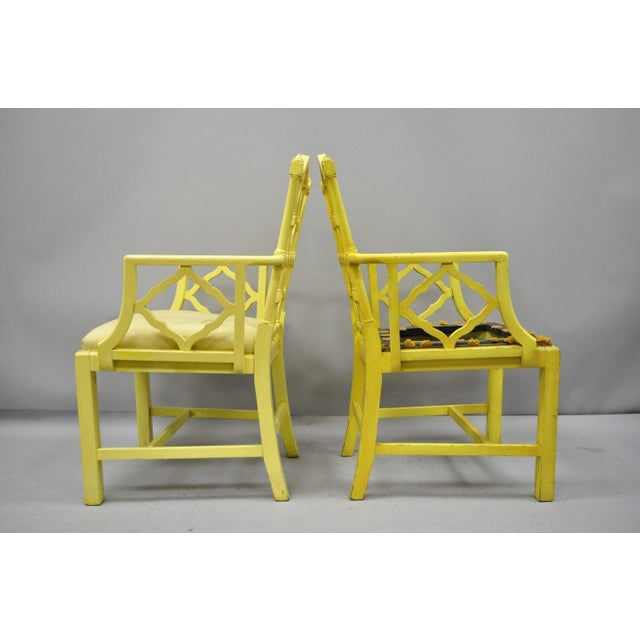 Chinoiserie Hollywood Regency Yellow Fretwork Armchairs - a Pair For Sale - Image 9 of 11