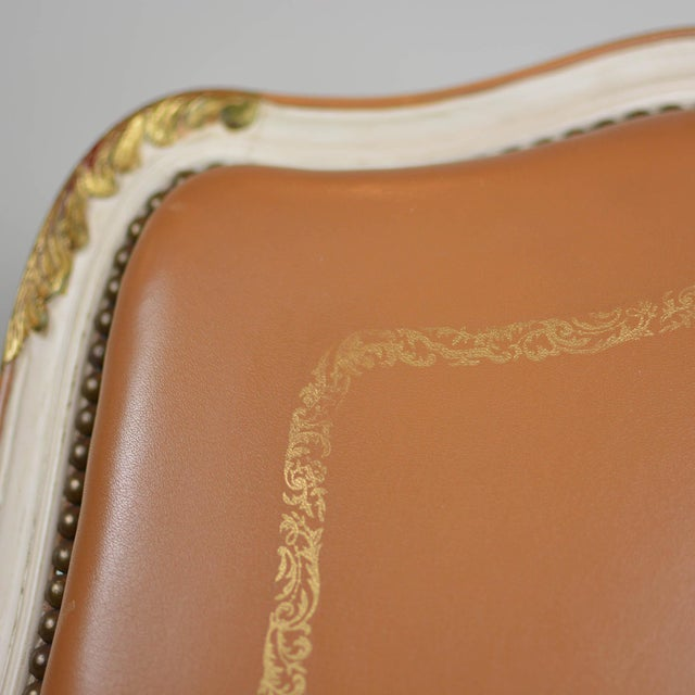 Antique Louis XV Style Brown Leather Chair For Sale In Columbus - Image 6 of 13
