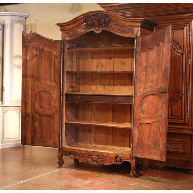 Exceptional 18th Century French Carved Walnut Wedding Armoire from Provence For Sale - Image 4 of 11