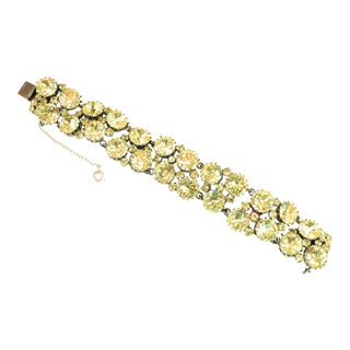 Austrian Hand-Made Canary Crystal Link Bracelet 1950s For Sale