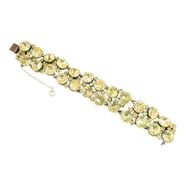 Austrian Hand-Made Canary Crystal Link Bracelet 1950s For Sale
