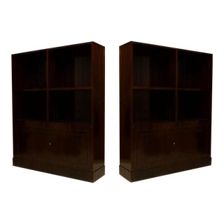 Pair Of French Art Deco Calamander Wood Bookcase For Sale