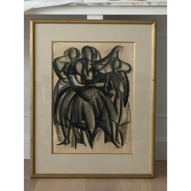 Framed Cubist Charcoal Painting - Image 5 of 6