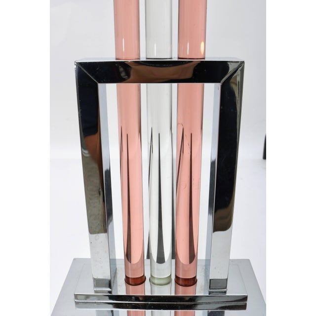 Metal French Art Deco Fireplace Andirons in Polished Chrome and Glass For Sale - Image 7 of 11