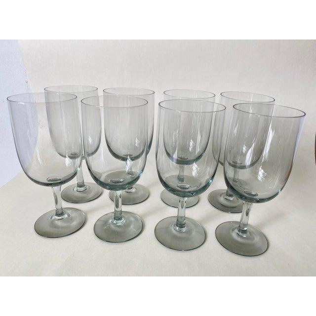 Light Gray 1950s Holmegaard Denmark Elsinore Smoke Glass Stemware - Set of 8 For Sale - Image 8 of 8