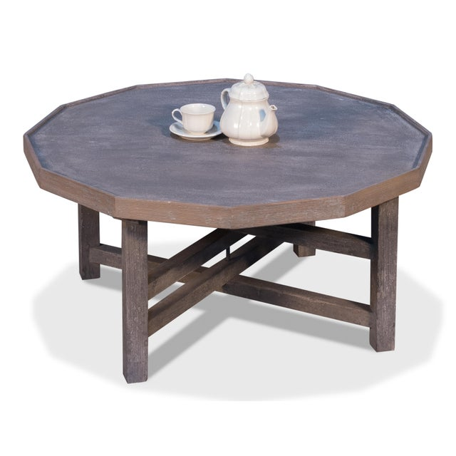 Sarreid Ltd. Sarreid Decagon Coffee Table, Grey Wash Finish For Sale - Image 4 of 6