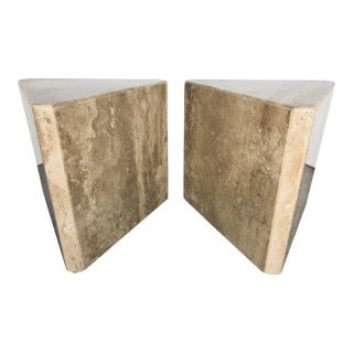 1970s Mid-Century Modern Pair of Italian Travertine Pedestal or Side Tables For Sale