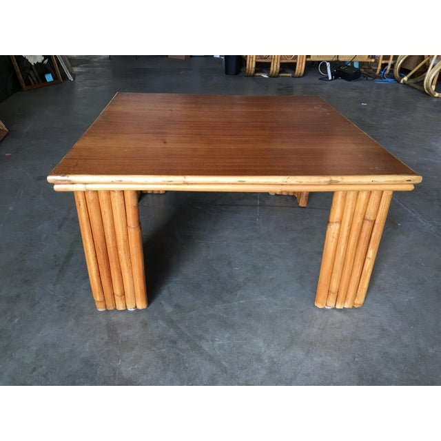 Restored Rattan Corner Side Table With Removable Mahogany Second Tier For Sale In Los Angeles - Image 6 of 7