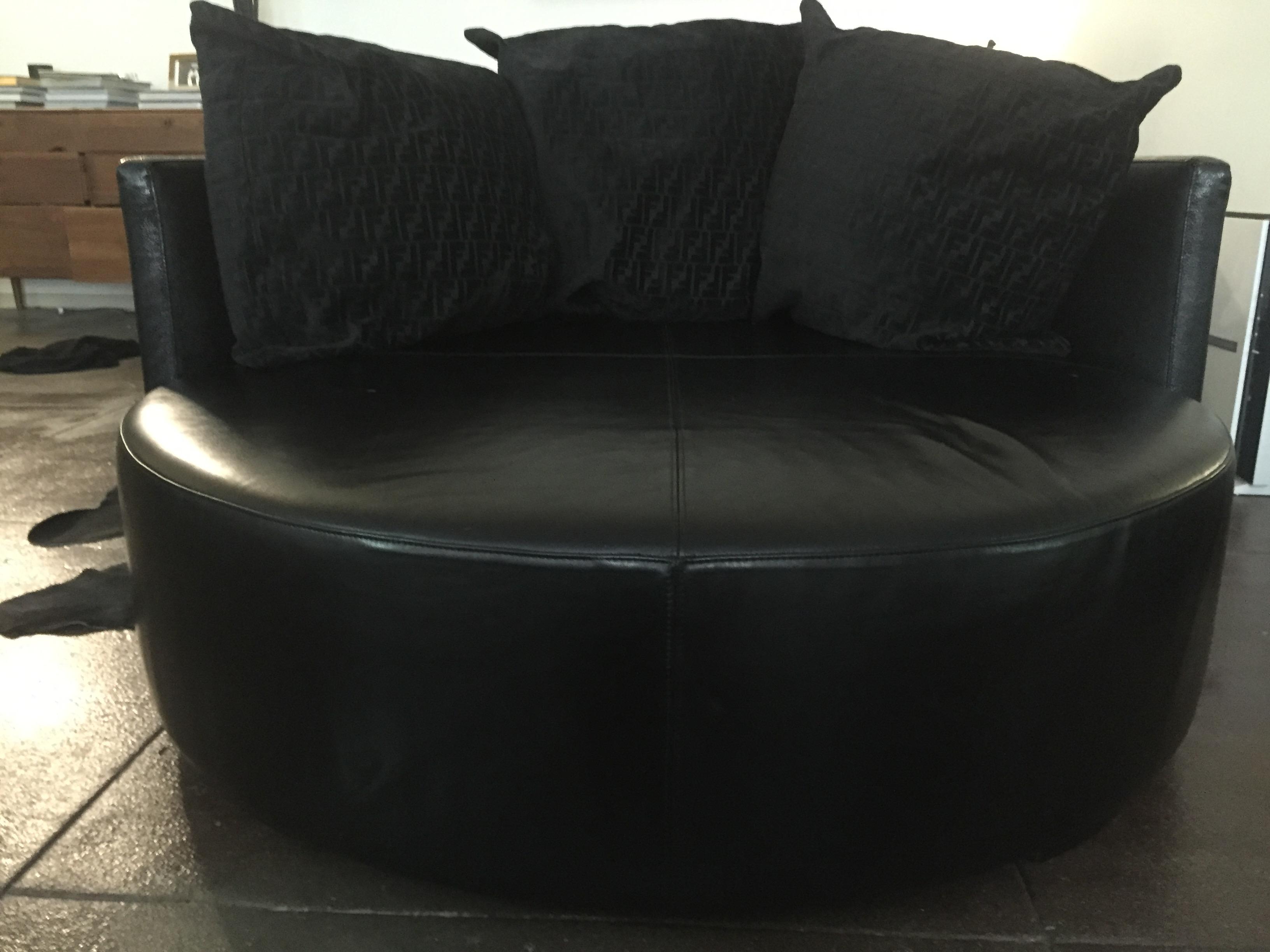 Delightful Fendi Casa Black Stingray Leather Circular Sofa