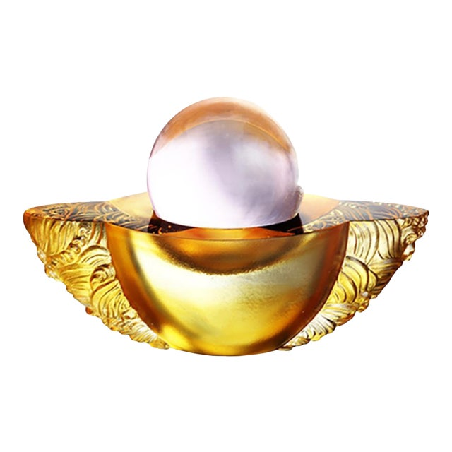 """Crystal Paperweight """"Kindness Turns this Good World"""" Feng Shui Sculpture in Light Amber For Sale"""