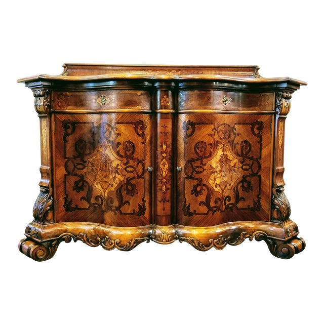 Northern Italian Baroque Style Serpentine Intarsia Sideboard For Sale