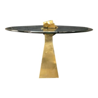 Cuboid Brass & Glass Dining Table For Sale