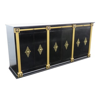 Hollywood Regency Painted Black Sideboard Tv Console Bar Record Cabinet 2430 For Sale