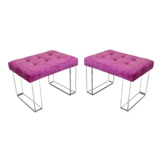 Infinity Style Pink Velvet & Lucite Benches - A Pair