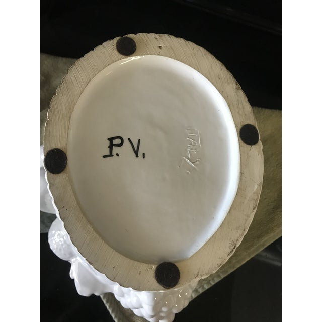 Traditional Italian White Ceramic Fruit Basket Centerpiece For Sale - Image 3 of 12